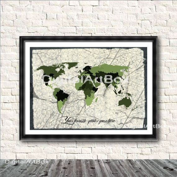 Personalized World Map Custom Quote Travel Lover by DigitalArtBox