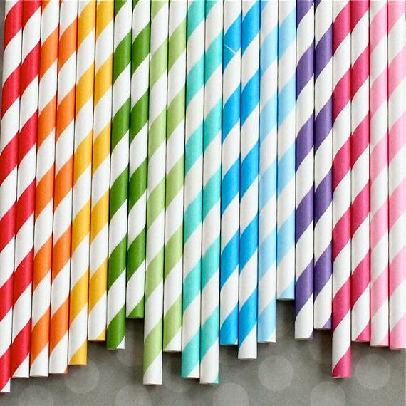 My favorite Etsy party supply seller. 30 Rainbow Striped Straws and Flag Toppers by HeyYoYo on Etsy, $4.80
