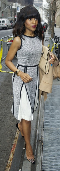 Who made Kerry Washington's gray dress that she wore in New York on January 30, 2013?
