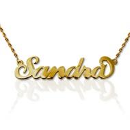 """Collana con nome personalizzato con ciondolo piccolo stile """"Carrie"""" in oro 14k"""