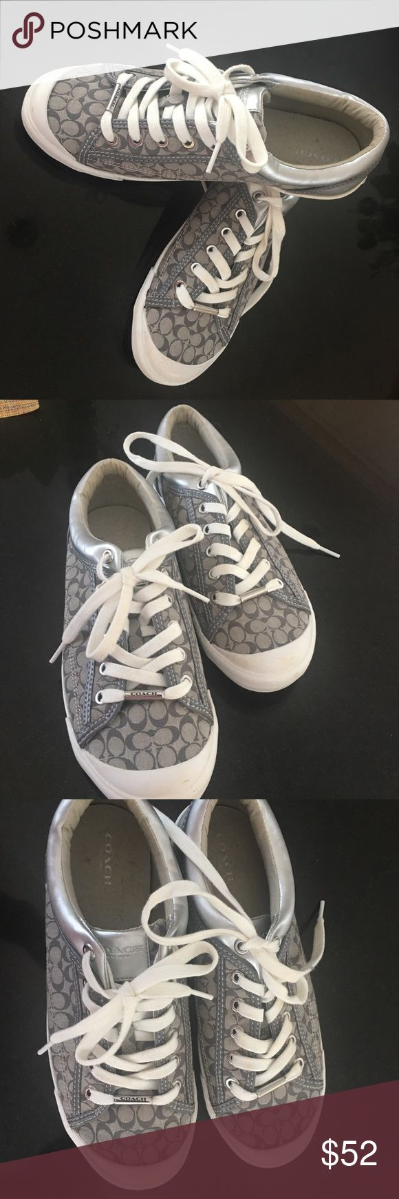 Used once - Grey and white Coach sneakers Grey and white Coach sneakers with a splash of silver. Worn only one time. Super comfy! Coach Shoes Sneakers