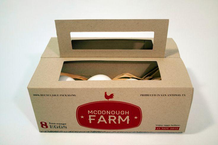 Дизайнер из Техаса Sarah Kendall McDonough создала дизайн комбинированной упаковки для восьми куриных яиц с фермы McDonough Farm. Коробка изготовлена из переработанного картона и представляет из себя переносную конструкцию, держатель для двух коробок-лотков в каждом из которых лежит четыре яйца. Что бы яйца не бились при транспортировке в лотках уложено сено. Упаковка украшена двухцветной печатью.    http://am.antech.ru/1cVH
