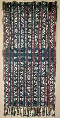 """Ikat Selendang Savu. Indonesia. Warp ikat. Cotton. 32""""x 62"""" excluding fringe. About 40-50 years old. This shawl, or shoulder cloth, is in very good condition, with two small, unobtrusive mends. It has delicate narrow red/blue/white stripes that contrast nicely with the ikat bands"""