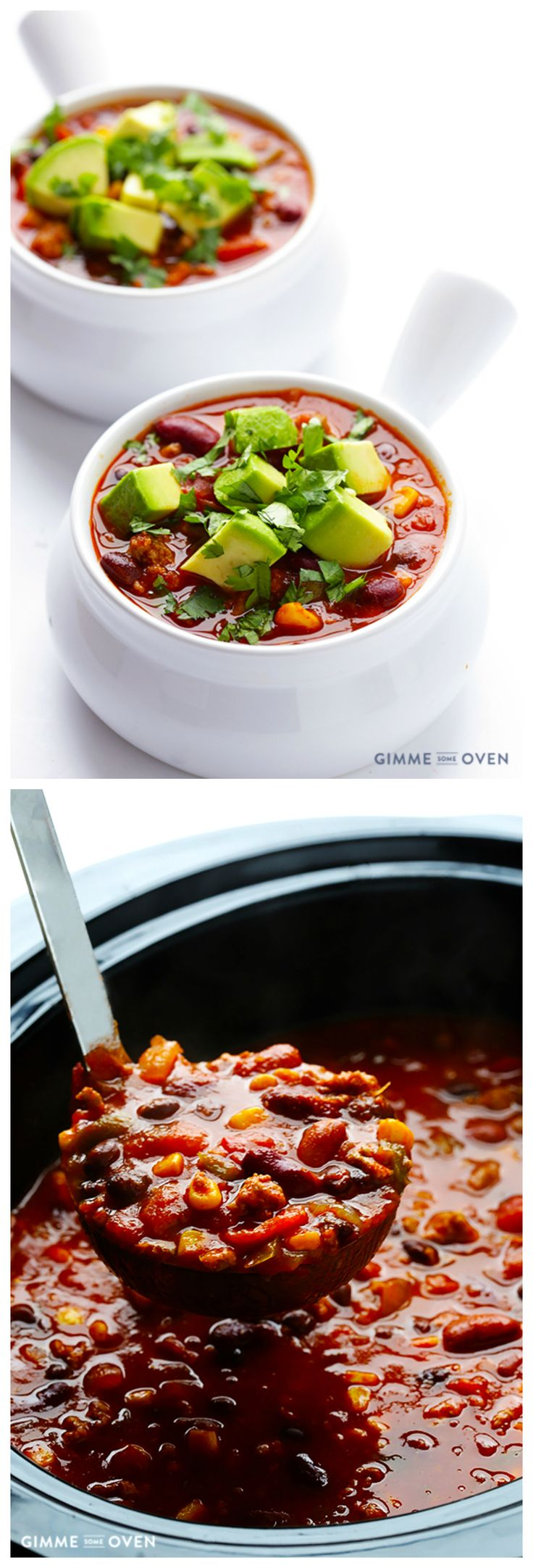 Slow Cooker Taco Turkey Chili -- all you need is 15 minutes of prep for this delicious, comforting, and healthier chili | gimmesomeoven.com #glutenfree #slowcooker #crockpot