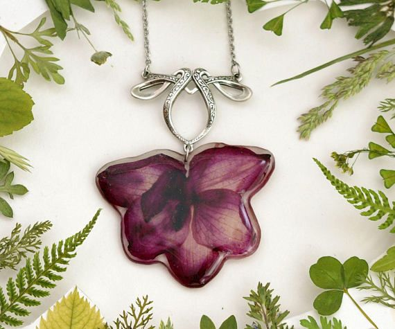 Real flower necklace Purple orchid Botanic resin necklace Real