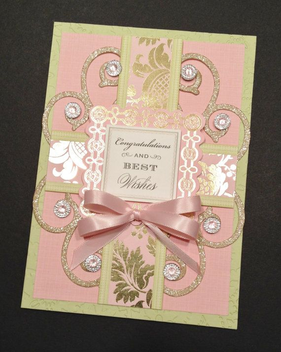 """Fancy """"Congratulations and Best Wishes"""" Card with Gold Foil Stamping and Floral Anna Griffin Papers"""