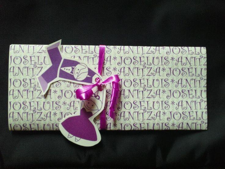 Invitación de boda creativa de color lila, wedding invitation