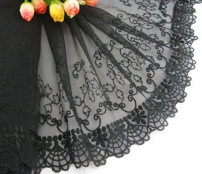 Delicate Black Embroidered Flower Tulle Lace Trim