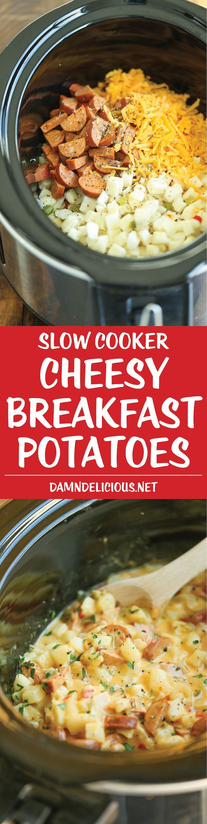 Slow Cooker Cheesy Breakfast Potatoes - This is the ultimate breakfast worth waking up to! Easily made right in your crockpot. Set it, forget, and devour!