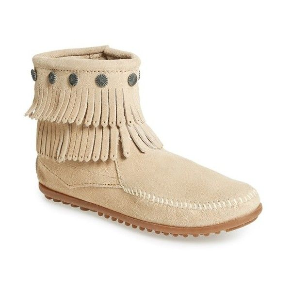 Minnetonka 'Double Fringe' Boot (£44) ❤ liked on Polyvore featuring shoes, boots, ankle booties, ankle boots, stone suede, short fringe boots, short moccasin boots, short boots, bootie boots and fringe ankle booties
