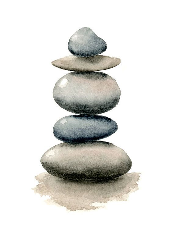 Stacked Rocks – Art Print – Wall Decor – Watercolor Painting