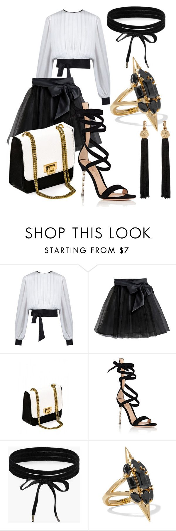 """""""Lucia"""" by the-mad-hattess on Polyvore featuring Little Wardrobe London, Gianvito Rossi, Boohoo, Noir Jewelry and Yves Saint Laurent"""