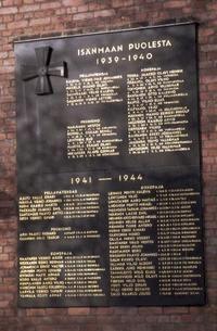 Isänmaan puolesta kaatuneiden muistotaulu Tampellassa