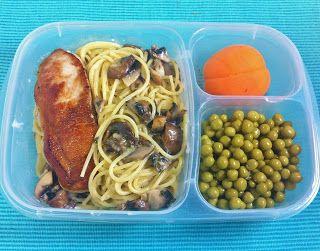 Pork Chop and Mushroom Pasta packed in #EasyLunchboxes