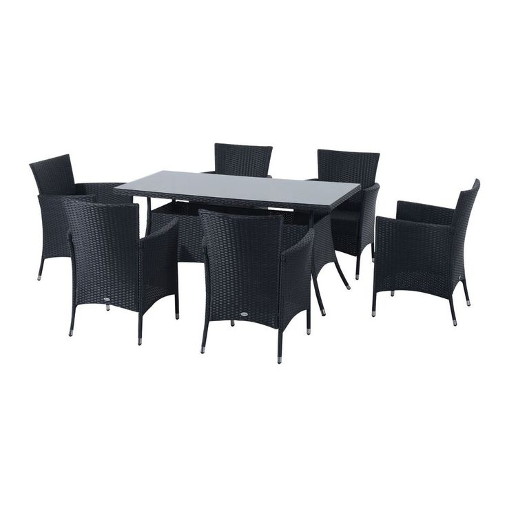 6 Seats Outdoor Dining Set Black Rattan Steel Frame Glass Table Garden Furniture