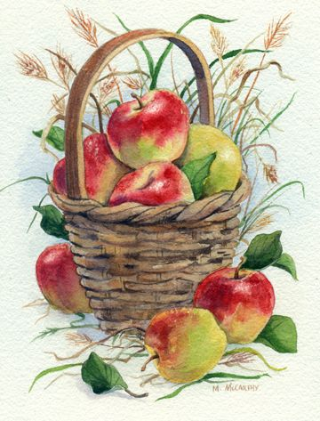 Basket of Apples with Grasses by Maureen McCarthy