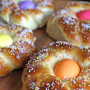 Italian Easter Bread  Buona Pasqua!  I've made this Easter bread for years for my kids. It's a sweet bread, made with milk and sugar and has an Easter Egg in the middle! There's a lot of Italian recipes for Easter breads, some are savory and some are sweet. This one is fun.