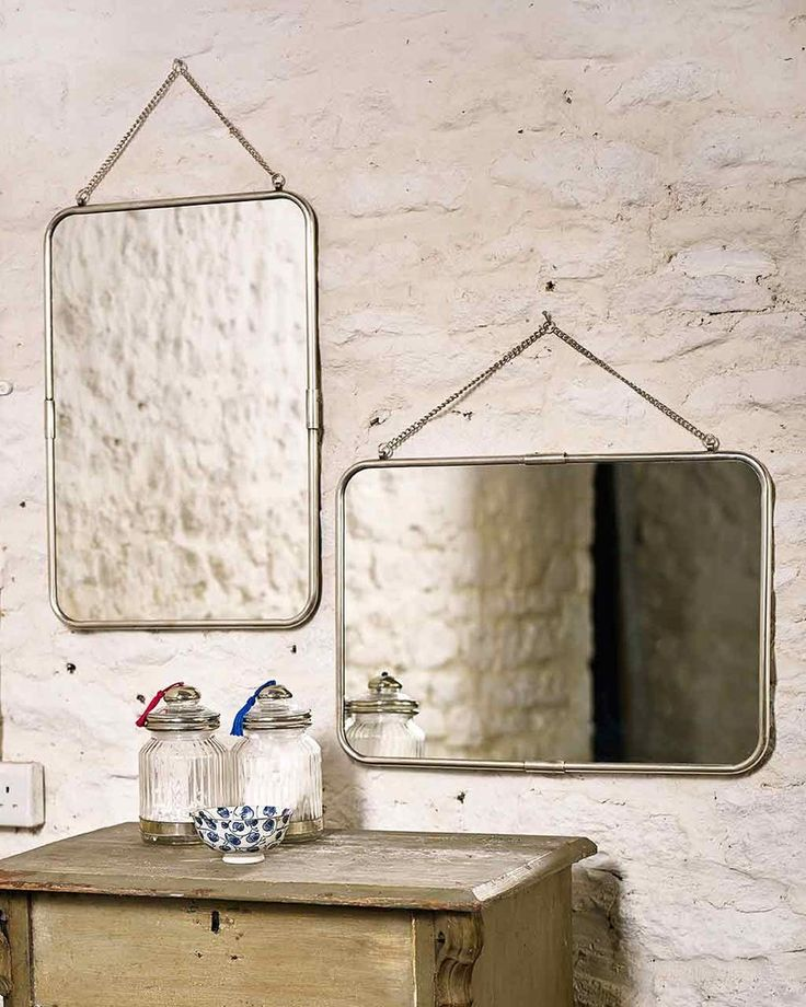 Hanging Mirror with Chain with Rectangular Metal Frame, Silver Finish