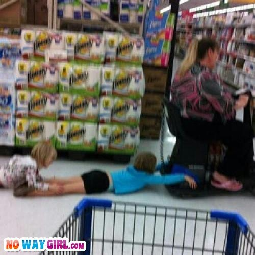 Meanwhile in Walmart kids are doing this | NoWayGirl.com sadly I can't say much I can easily see my girls doing this lmao #lovemycrazies!