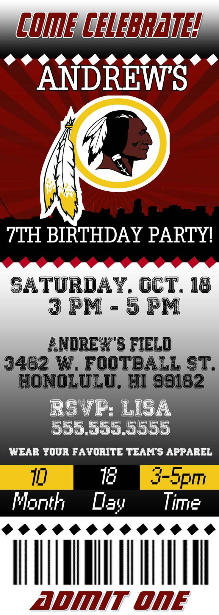 NFL Washington Redskins Ticket Birthday Invitation