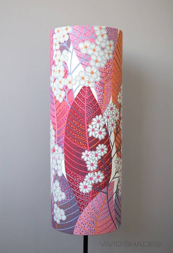 Tall Lampshade With Floor Lamp Base Option Handmade By Vivid Shades Funky Yellow Red Orange Retro Flower Mustard Unique Tube Cylinder Floor Lamp Base Scandinavian Fabric Lamp Shades