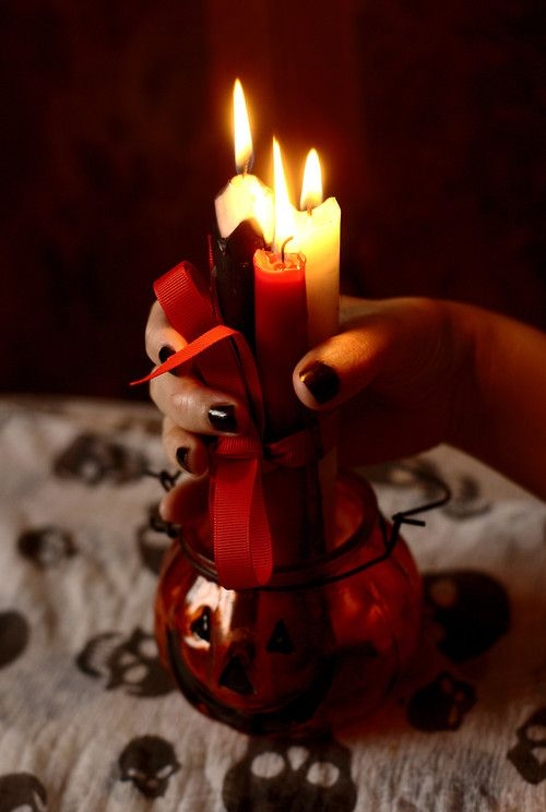 willo-wisp:  To bless past,present and future witches on Samhain Tie with red ribbon a black, white and red candle, light them and say: I ho...