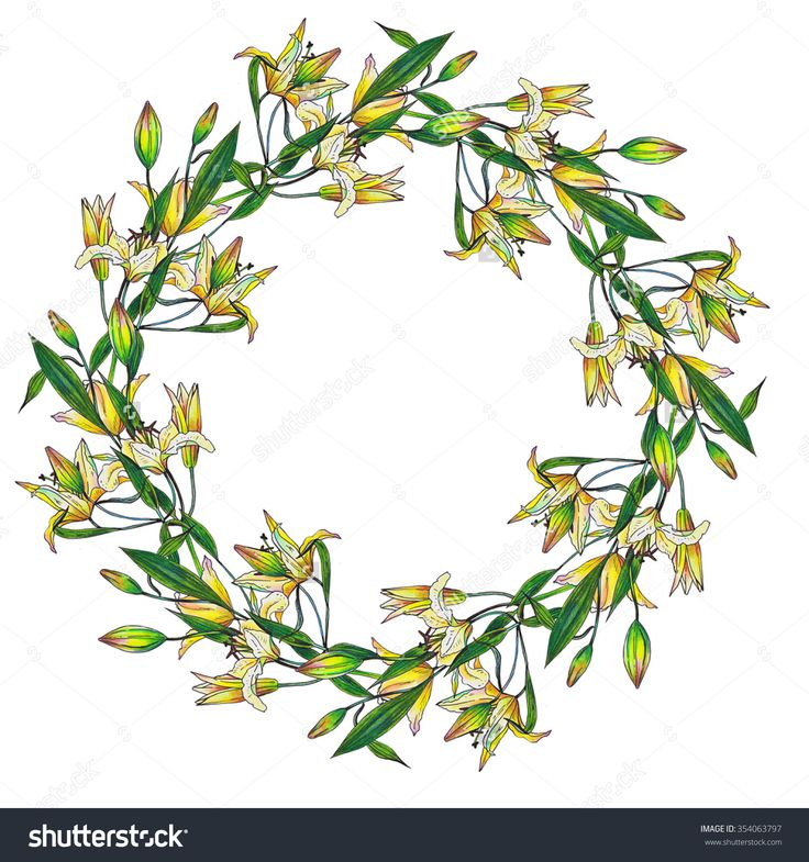 Lyly wreath - a wreath composed of hand-painted sprigs of lilies. White background