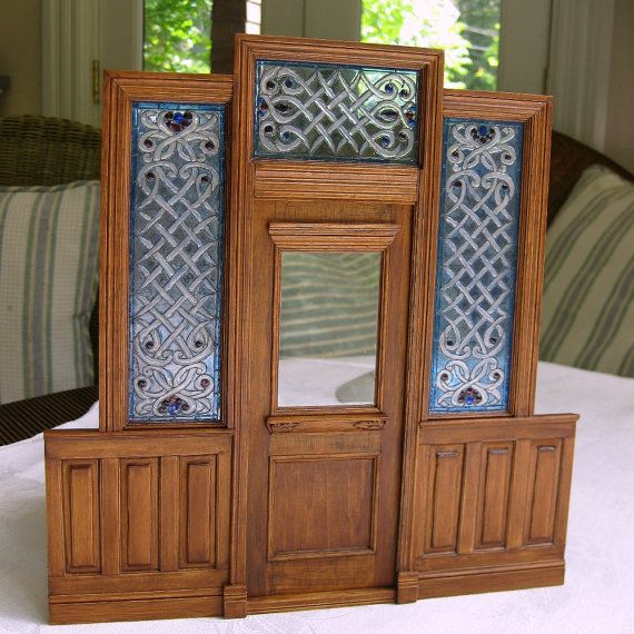 Miniature Victorian Front Door with Stained Glass 1:12 Scale dollhouse miniature artisan handcrafted
