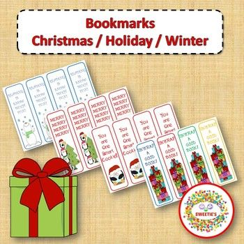 Print and cut these bookmarks for presents for your students. Phrases on the bookmarks -' Tis the season to read a good book! - Reading is a gift! - Merry, Merry, Merry, Merry - Reading is Snow much fun! - Books are Snow Special - You Are One Smart Cookie! - Joy - Unwrap a good book! - Merry Christmas - Happy Holidays - This book is on Santa's Nice list! - Be a dear