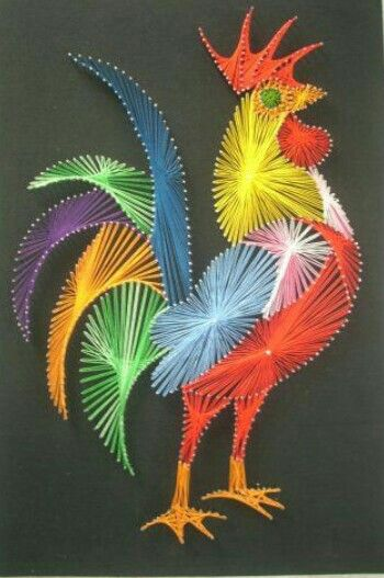 rooster string art -- amazing design