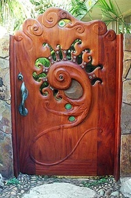Beautiful Carved Wooden Garden Gate