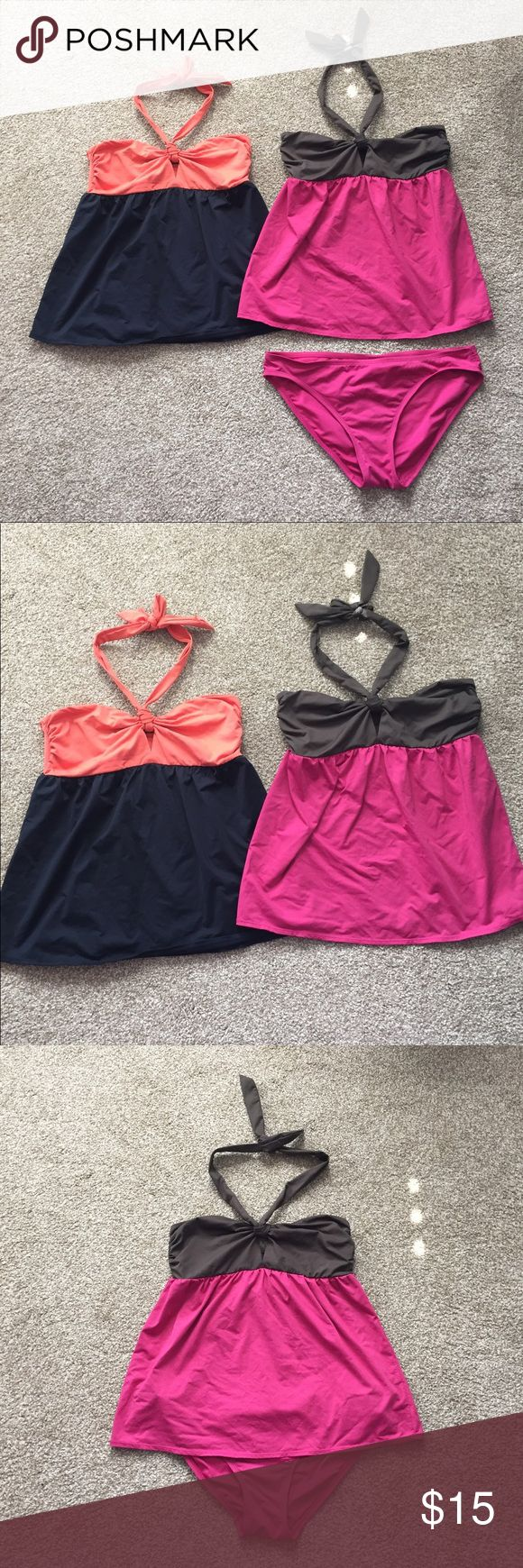 DKNY bathing suit tops/bottom Raspberry pink and brown tankini bathing suit. Ties around neck, loose (maternity style fit) but not a maternity bathing suit. Top is a size small and bottoms are a large. Also have this bathing top in orange/black size small but can't find black bottoms. I wore these once! DKNY Swim