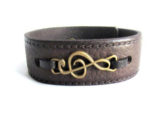 Mens treble clef leather bracelet mens leather by Bravemenjewelry