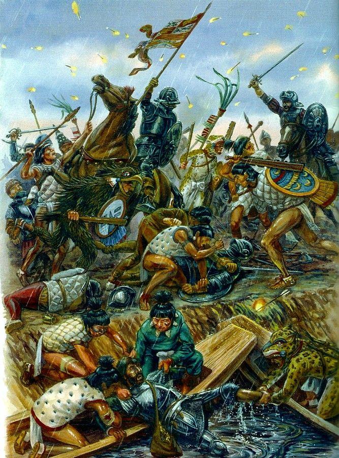 """1520 La """"Noche Triste. Hernán Cortés es obligado a retirarse de Tenochtitlan."""