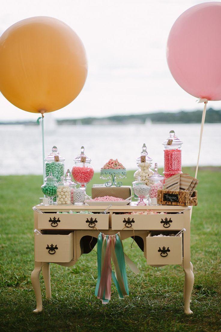 Candy buffet at wedding reception