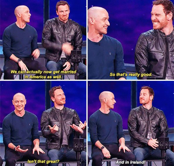 When they discussed taking their friendship to the next level. | 19 Times McAvoy And Fassbender Were The Definition Of Friendship Goals