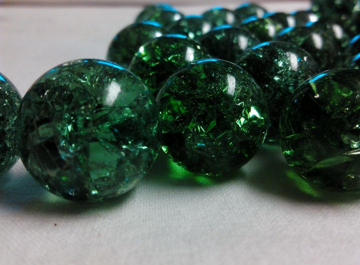 """Cracked Marbles -- 20 cracked green iridescent marbles -- 9/16"""" by ThreeBrokeSisters on Etsy"""