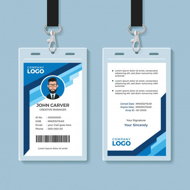 Blue Graphic Employee Id Card Template Employee Id Card Id Card Template Employees Card