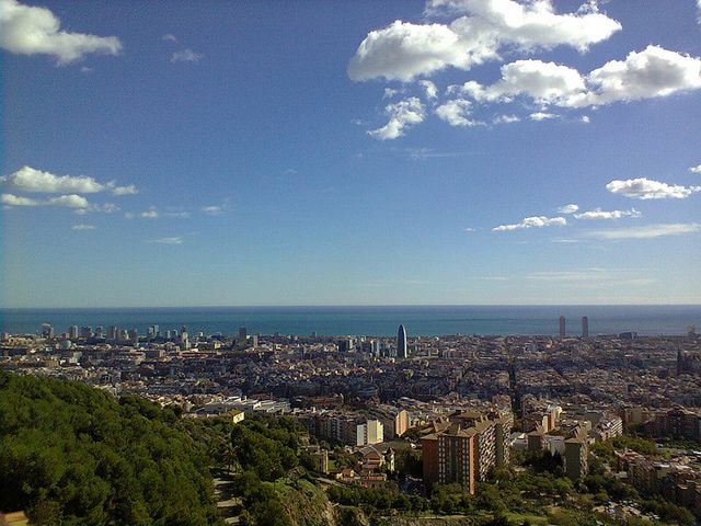 Barcelona Weather in November: View from Parc Guell, Barcelona, in early-November