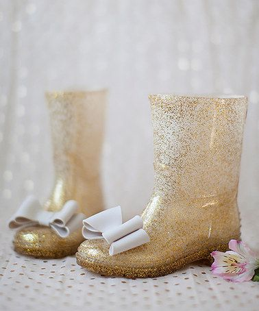 This Gold Fiona Rain Boot - Kids by Joyfolie is so glamorous!