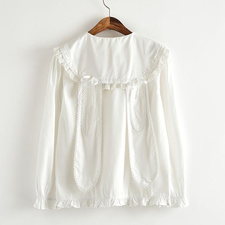 Lanterna branca Da Luva Camisas de Algodão Rendas gola Marinheiro com Bonito Coelho Longas Orelhas de coelho Bow tie Mulheres Lolita luva Cheia blusas