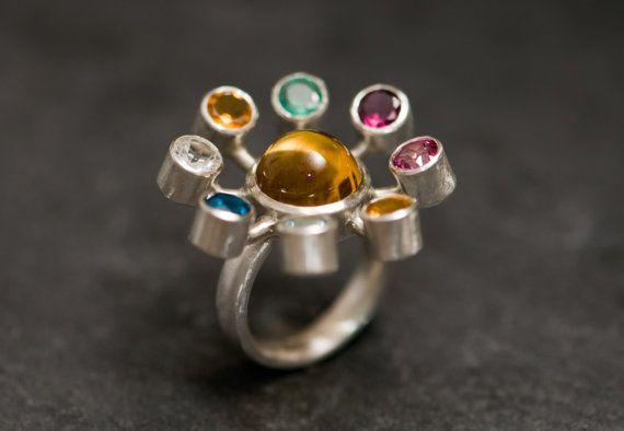Large Cocktail Ring - Solar System Ring - Amethyst Citrine Emerald Tourmaline Ruby Peridot Aquamarine Topaz Silver Ring - Free Shipping