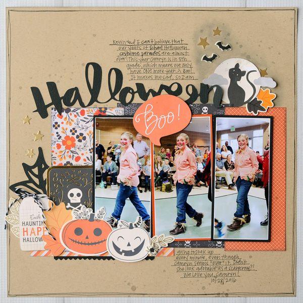 Jana Eubank Pebbles Midnight Haunting Halloween Scrapbook Page 1 600