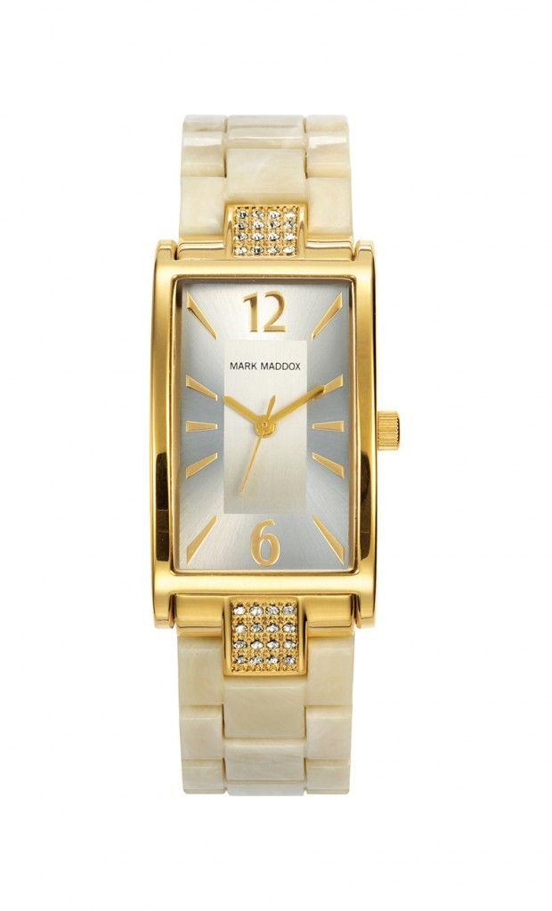 Un modelo totalmente elegante, un reloj soñado! Con acabado carey hueso y cierre desplegable. Bisel con incrustaciones y caja con acabado IP Dorado. Cristal mineral e impermeable 10m (1ATM).