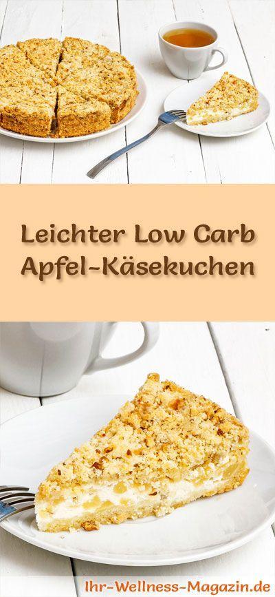 Rezept für einen leichten Low Carb Apfel-Käsekuchen: Der kohlenhydratarme Kühlschrankkuchen wird ohne Zucker und Getreidemehl zubereitet. Er ist kalorienreduziert, ... #lowcarb #Kuchen #backen
