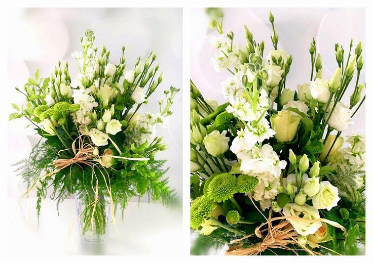 BUKIETY | Białe Kwiaty  nowoczesny bukiet, piękny bukiet, eustoma, chryzantema gałązkowa, ostróżka, zieleń