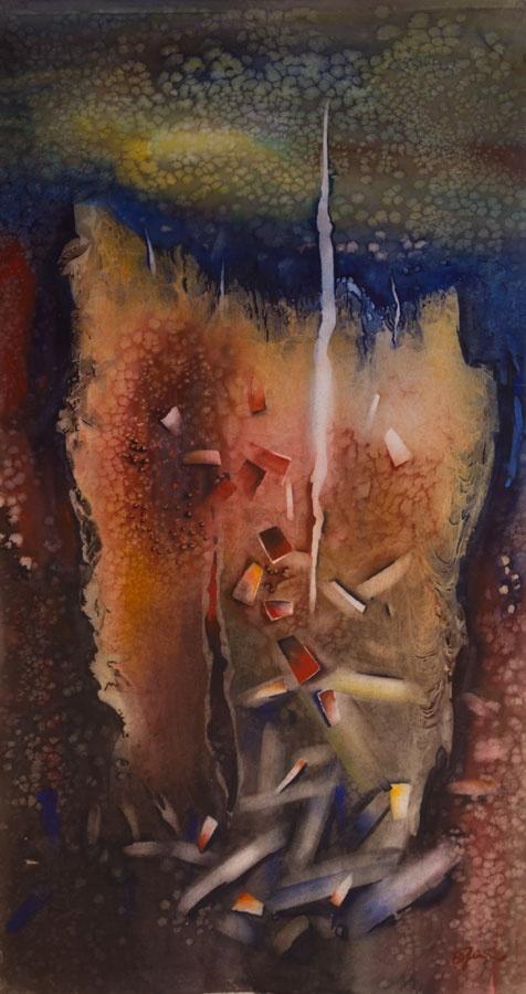 'Fiery' by Benjaminas. Medium: Watercolour. Fine Art Supplier - Drai Fine Art.
