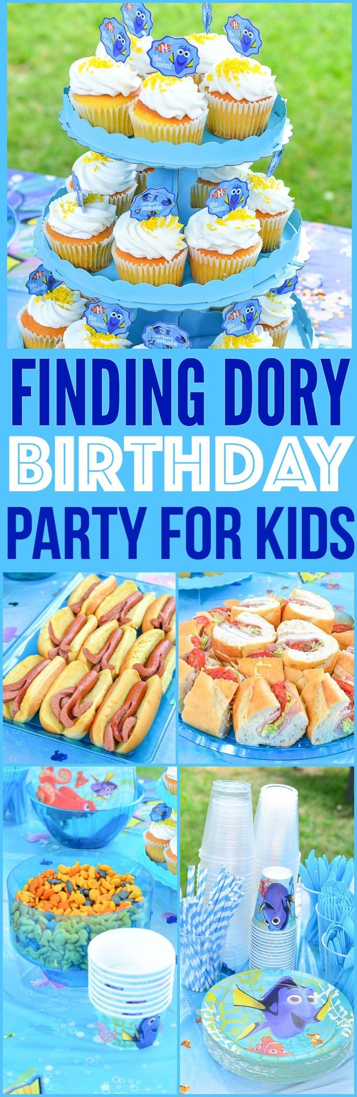 finding dory birthday party ideas finding dory cake finding dory party ideasbirthday party ideas for kids party food party planning  via @CourtneysSweets