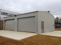 double fronted industrial steel building in goosewing grey to be used for a steel mot garage