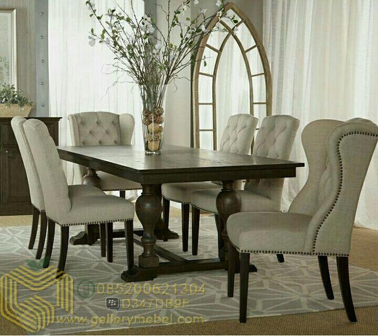 Set Meja Makan Mewah 6 Kursi Set Meja Makan 6 Kursi diatas memiliki desain yang minimalis elegan, sehingga terlihat mewah dengan 6Kursi Makan dibalut denga